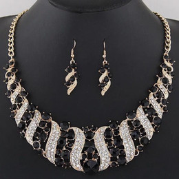 $enCountryForm.capitalKeyWord Australia - Crystal Bridal Jewelry Sets Wedding Party Costume Accessory Indian Necklace Earrings Set for Bride GorgeousJewellery Sets Women