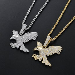 $enCountryForm.capitalKeyWord Australia - Men's Iced Brass CZ Eagle Pendants Hip Hop Neckalce Gold Silver Color Jewelry Gift CN089