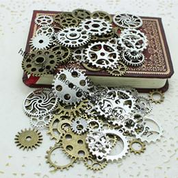 Gear Fit Bracelet Australia - Sweet Bell Mix 100 pcs two color Charms Gear Pendant Antique bronze Fit Bracelets Necklace DIY Metal Jewelry Making D0352