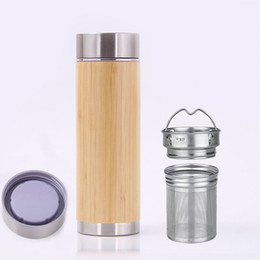 $enCountryForm.capitalKeyWord NZ - Stainless Steel Bamboo Mug Water Bottle Insulation Cup With Tea Infuser and Strainer Bottle Sports Travel Mug Christmas Gift HH7-1923