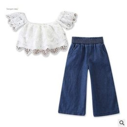 Discount girl pants off - Baby Girls Lace Clothing Outfits Set 2019 Summer Children Off Shoulder Lace Tops Wide Leg Jeans Denim Pants Kids Toddler