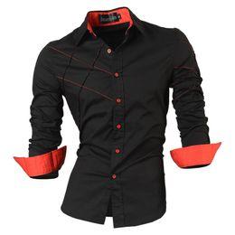 Slim Fit Black T Shirts Australia - 2018 Casual Shirts Dress Male Mens Clothing Long Sleeve Social Slim Fit Brand Boutique Cotton Western Button White Black T 2028