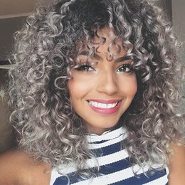 $enCountryForm.capitalKeyWord Australia - Kinky Curly Synthetic Wig Hair Women Grey Natural None Lace Wigs High Temperature Heat Resistant Africa American Hair