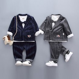 Birthday Party T Shirts Australia - good quality autumn baby boy clothes gentleman suit for wedding birthdays party cotton coat +t-shirt+pants infant boy outifits set