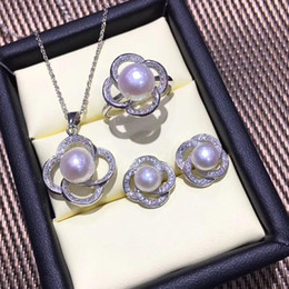 $enCountryForm.capitalKeyWord Australia - FENASY Pearl Jewelry Pearl Pendant Necklace 925 Sterling Silver Stud Earrings For Women Big Flower Ring Bridal Jewelry Sets