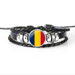 wholesale world cup football flags UK - 2019 New Fashion Chad National Flag World Cup Football Fan Time Gem Glass Cabochon Jewelry Genuine Leather Rope Beads Bracelet For Women Men