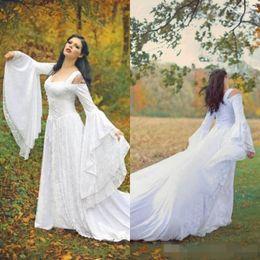 $enCountryForm.capitalKeyWord NZ - 2019 Long Juliet Sleeves Gothic Wedding Dresses Vintage Corset Straps Sweep Train Lace Off the Shoulder Wedding Bridal Gown Custom Made
