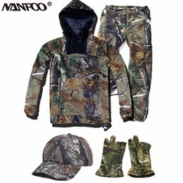 shooting clothing Australia - Hot Summer Bionic Camo Hunting Clothing UnisexHunting Ghillie Suit Anti-mosquito Hooded Camo Shooting Fishing Jacket Pant Suit