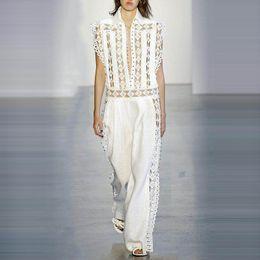 1355023ece06 2019 Hollow Out Jumpsuits For Women Beading Sleeveless High Waist Wide Leg  Pants Female Summer Korean Fashion New