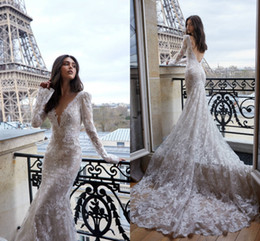 Wedding dresses tulle skirts online shopping - Newest Mermiad Full Lace Wedding Dress Elegant Long Sleeve Deep V Neck Oped Back Beach Boho Bridal Gown