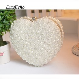 ivory pearl bridal bag Canada - Large love white ivory pearl heart day clutch bag evening party bag woman clutch girl wedding bag bridal handbags Y200520