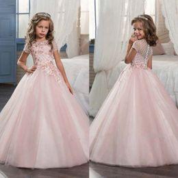 Wedding Tutus Australia - Ball Gown Lace Applique TUTU Flower Girl Dresses Kids Brithday Dress Party Princess Gown Bridesmaid Wedding Formal Occasion Dress 62