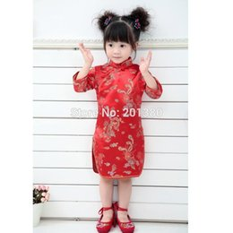 109de8114b 2019 Qipao Three Quarter Baby Girl Summer Dress kid clothes Floral Cheongsams  Gift New Year Traditional Chinese Clothing