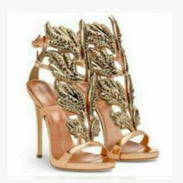 Summer New Gold Mirror Leather Metal Sandals Sexy Winged with Diamond High  Heels Shoes Fashion Women Females Dress Shoes EU 35-42 8d599cebfd9f