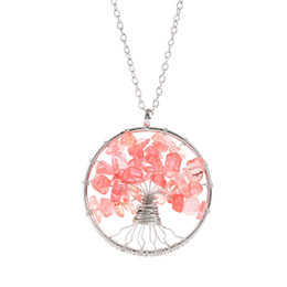 $enCountryForm.capitalKeyWord Australia - Tree of Life Pendant Necklace Colorful High Quality Life Tree Root Chain Necklaces Women Natural Pink Stone Turquoise Sweater Chain Jewelry