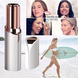 $enCountryForm.capitalKeyWord Australia - Lipstick Facial Hair Remover White Mini Portable Body Epilator 18K Gold Plated Women Painless Hair Removal Shaving Hair Removal device.