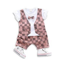 Skull T Shirt Baby Australia - Summer baby boy clothes skull Boys Suits bow tie vest T shirt+Shorts Boys Clothing Sets Newborn Outfits Baby Suit toddler boy clothes A4974