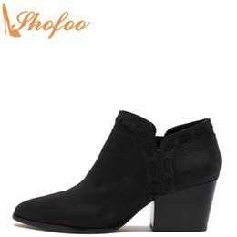women black booties NZ - Black Ankle Boots High Chunky Heels Woman Almond Toe Zipper Booties Large Size 14 15 Ladies Winter Fashion Mature Shoes Shofoo