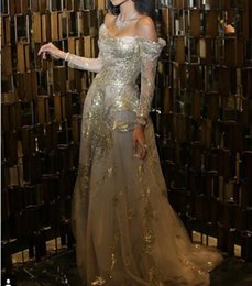 Kardashian Evening Gowns Australia - Evening dress Yousef aijasmi Kim kardashian Bateau Long sleeve Ball gown Gold sequinesr Lace Crystal Zuhair murad 107