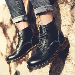 Vintage Martin Boots Australia - Plus Size 38-45 Genuine Leather Men Ankle Boots Vintage Lace Up High Top Shoes Fashion Winter Martin Boots Outdoor Casual Shoes