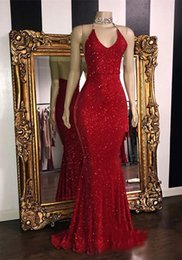 white red roses prom Australia - 2020 Stunning Rose Pink Sequined 2K19 Prom Dresses Sexy Spaghetti Straps Mermaid Sleeveless Halter Red Evening Gowns robes de soirée