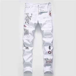 Wholesale men s jean clothing resale online – Hole Mens Designer Jeans Fashion Ripped Washed Graffiti Print Mens Jeans Casual Zipper Fly Males Clothing