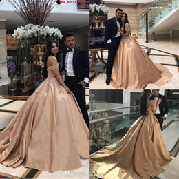 12 Year Old Dresses Australia - Elegant Gold Prom Dresses Off The Shoulder Puffy Satin Elegant Formal Evening Gowns With Train Appliques Sweet 15 years Old Prom Dress 2019