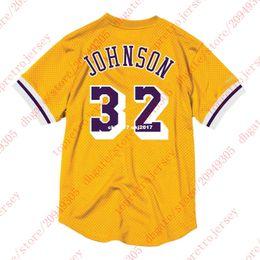 3777891cb12 Cheap Top #32 Johnson Mitchell & Ness Custom Mesh Jersey Shirt Mens  stitched Tee Yellow basketball jerseys Ncaa