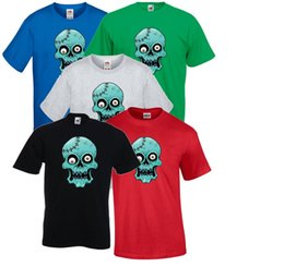 blue cotton men NZ - Crazy Blue Zombie Crystal Skull, Halloween Party T shirt Men Ladies size discout 100% Cotton hot new tshirt