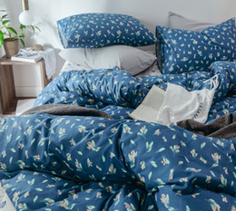 $enCountryForm.capitalKeyWord Australia - Free shipping Novelty Gift Beautiful Leaves Flower Floral Print Navy Blue Bedding Quilt Duvet Cover Set Pillowcase Twin Queen King size