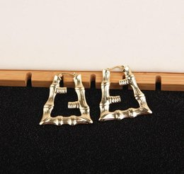 Wholesale 2020 New Star Exaggerated Earrings Positive and Negative Double Letter Tide Take Large Ear Ring Bamboo Shape Fast Delivery