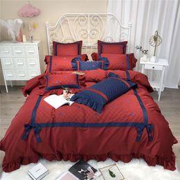 Red Embroidered Bedding Australia - 100%Cotton Red Blue Bedding Set Queen King size Bed sheet set Fitted sheet Bed Duvet cover parrure de lit ropa de cama