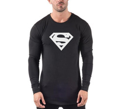 $enCountryForm.capitalKeyWord Australia - Superman sports fitness long sleeve T-shirt men's casual slim training clothing exercise shirt