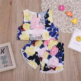 $enCountryForm.capitalKeyWord NZ - Summer baby girl kids clothes set Flower printed sleeveless trendy vest top+shorts 2 piece set kids designer clothes girls JY485