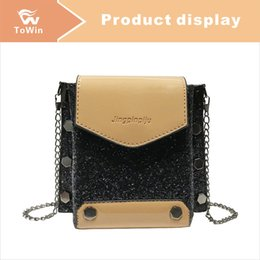 brown patent wallet UK - New Sequins Decoration Flap Bags Women Designer Luxury Crossbody Bags Mini Female Shoulder Bag Fashion Patent Leather Handbags Wallet Tote