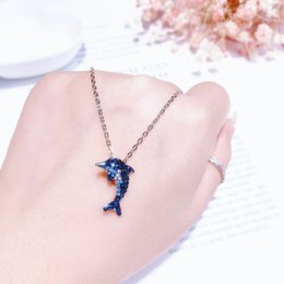 Horn Chains Australia - Shaking with the same paragraph blue gradient dolphin necklace female blue diamond marine cute fish love clavicle chain to send his girlfrie