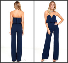 00719e470f8 2019 New Ladies Party Jumpsuit Strapless Ruffles Long Wide Leg Jumpsuits  Women Sexy Evening Dress Rompers OL Office Outfit