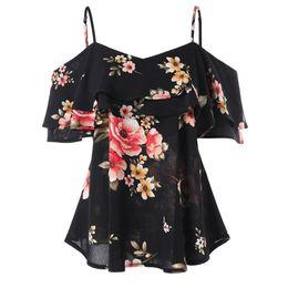 $enCountryForm.capitalKeyWord UK - T-shirt Floral Printing Off Shoulder summer Women Bohemia Shirt Sleeveless Tops T-shirts for women new arrival 2019 camisa mujer
