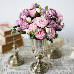 $enCountryForm.capitalKeyWord NZ - 1 Bunch Artificial Silk Rose Peony Flowers Wedding Decoration Fall Flores 5 Heads Bouquet Diy Home Fake Flower Wreath A49a29
