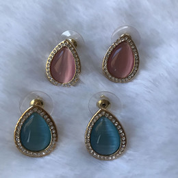 Korean Rose Gold Accessories Australia - Fashion pink and blue rose gold color plated opal simple small earring kpop accessories boucle d'oreille femme brincos korean trendy earring