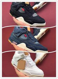 $enCountryForm.capitalKeyWord NZ - Wholesale Basketball Shoes Mens 4 4s Denim LS Jeans Travis Blue White Black Jeans Sneakers Men Shoes High Quality SIZE 40-47