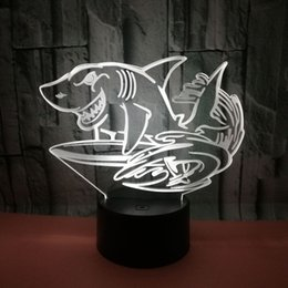 $enCountryForm.capitalKeyWord Australia - Foreign Trade New Pattern Shark 3d Lamp Colorful Touch Remote Control 3d Led Vision Lamp Gift Decoration 3d Small Night-light
