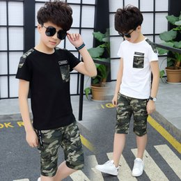 $enCountryForm.capitalKeyWord Australia - Boys Clothes Summer Clothing Set 2019 New Fashion Patchwork Camouflage O-neck Short Sleeve Two Pieces Suit Clothes For Boys J190717