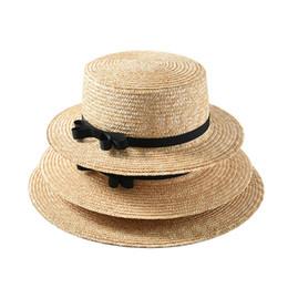 92f7c72ed [La MaxPa] 2019 new handmade women straw sun hat flat top natural wheat  straw hat women summer bow-knot beach