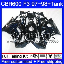 Honda Cbr F3 Fairings Australia - Body +Tank For HONDA CBR 600 FS F3 CBR600RR CBR 600F3 97 98 290HM.7 CBR600 F3 97 98 CBR600FS CBR600F3 Blue flames stock 1997 1998 Fairings