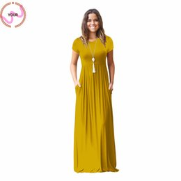 summer simple maxi dress sleeves Australia - Spring And Summer Hot Style Sleeve Pocket Dress Simple Fashion Personality Pure Color Long Dress Casual Style