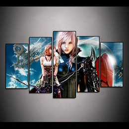 Discount video digital picture frame - (Only Canvas No Frame) 5Pcs Lightning Returns Final Fantasy Xiii Video Game Wall Art HD Print Canvas Painting Fashion Ha