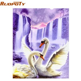 $enCountryForm.capitalKeyWord NZ - ome Decor Calligraphy RUOPOTY Frame Swan Animals DIY Painting By Numbers Wall Art Picture Acrylic Canvas Painting For Wedding Decoration...