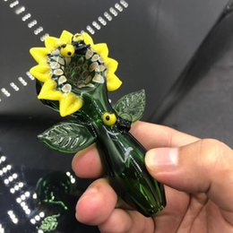 UniqUe flowers online shopping - Smoking Blown Glass Hand Pipes flower design Tobacco Spoon Pipes Mini Small Bowl Pipe Unique Pot Pipes Smoking Pieces