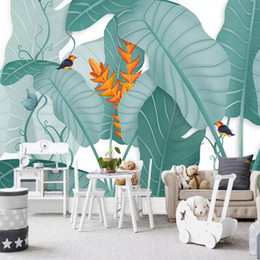 Paintings For Restaurant Australia - Custom Any Size Mural banana tree Wallpaper 3D Stereo Green Leaves Forests Fresco Living Room Study Restaurant Backdrop Wall Painting Decor